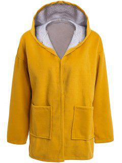 Hooded Long Sleeve Two Pockets Coat - Yellow Xl