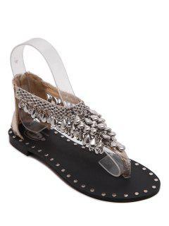 Pendant Flat Heel T-Strap Sandals - Golden 38
