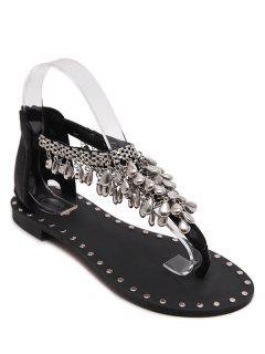 Pendant Flat Heel T-Strap Sandals - Black 38