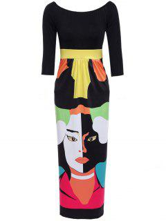 Abstract Figure Print Off The Shoulder Maxi Dress - Black L