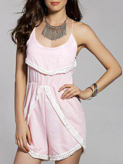 Backless Cami Lace Spliced Tassles Spliced Romper - Shallow Pink S