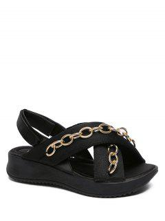 Cross-Strap Chains Black Sandals - Black 38