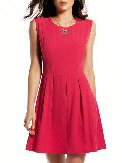Rose Red Round Neck Sundress - Rose S