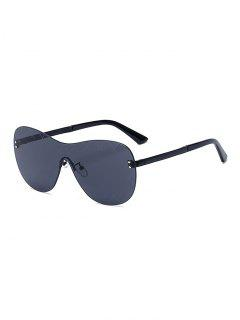 Plaid Mesh Black Shield Sunglasses - Black