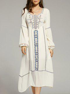 Cut Out Embroidery Scoop Neck Lantern Sleeve Dress - White S
