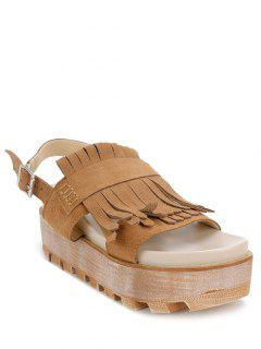 Fringe Platform Suede Sandals - Brown 38