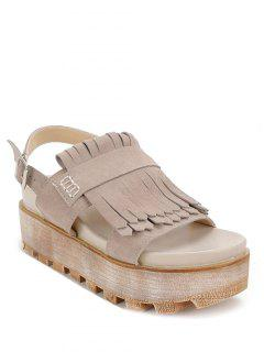 Fringe Platform Suede Sandals - Apricot 38