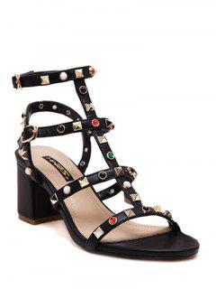 Chunky Heel Rivet Solid Color Sandals - Black 38