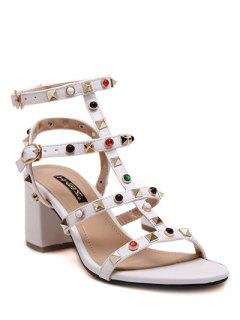 Chunky Heel Rivet Solid Color Sandals - White 38