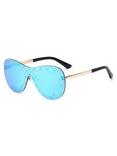 Plaid Mesh Mirrored Shield Sunglasses - Ice Blue