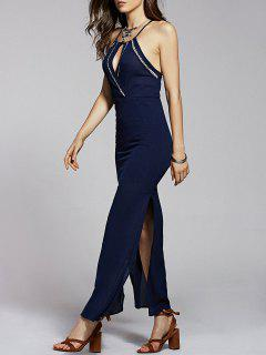 Solid Color Cami Side Slit Maxi Dress - Purplish Blue S