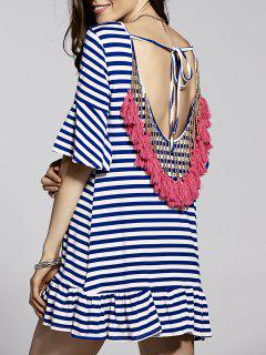 Fringed Open Back Dress - Blue And White