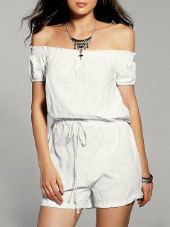 Coulissée Off The Shoulder Blanc Romper - Blanc S