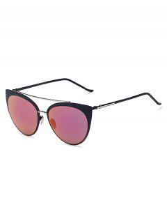Plaid Black Mirrored Cat Eye Sunglasses - Purple