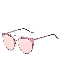 Plaid Mirrored Cat Eye Sunglasses - Pink