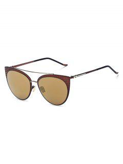 Plaid Mirrored Cat Eye Sunglasses - Tyrant Gold