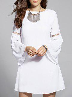 Drawstring Cut Out Jewel Neck Flare Sleeve Dress - White Xl