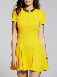Cut Out Solid Color Round Neck Short Sleeve Dress - Yellow S