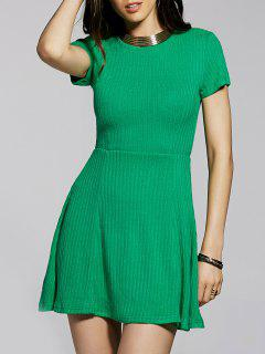 Cut Out Solid Color Round Neck Short Sleeve Dress - Green S