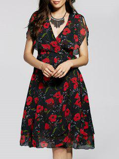 Irregular Hem Flower Print V Neck Sleeveless Dress - Black S