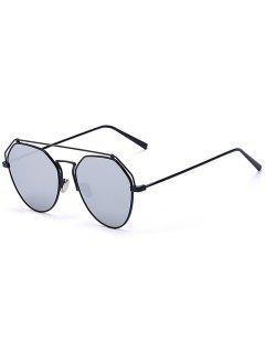 Black Brow-Bar Mirrored Pilot Sunglasses - Black