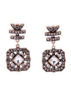 Rhinestone Square Earrings - Golden