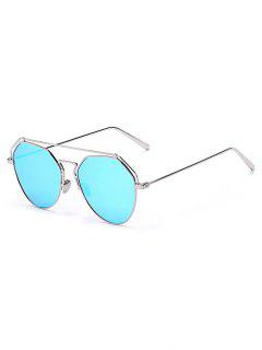 Silver Brow-Bar Mirrored Pilot Sunglasses - Silver