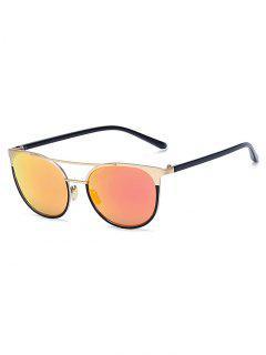 Golden Crossbar Mirrored Cat Eye Sunglasses - Red
