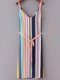 Rayures Fines Bretelles Side Slit Robe Ceinturée - S