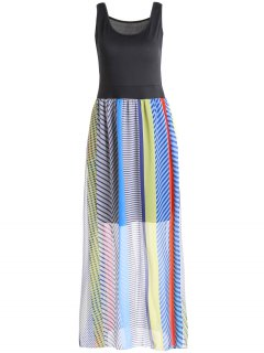 Sleeveless Striped Bohemian Dress - Xl