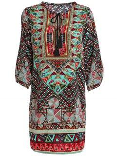 Robe Imprimée Ethnique à Manches 1/2 à Encolure Bijou  - Vert L