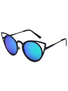 Black Charming Cat Eye Mirrored Sunglasses - Green