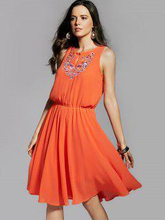 Round Neck Embroidery Sleeveless Dress - Orange S