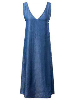 High Slit V-Neck Chambray Maxi Dress - Blue M