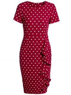 Polka Dot Back Slit Work Dress - Wine Red L