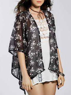Flower Print 3/4 Sleeve Long Kimono Blouse - Black Xl
