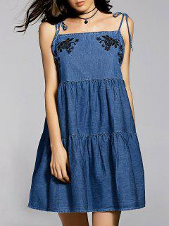 Bow Tie Shoulder Denim Slip Dress - Blue S