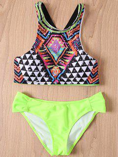 Print Round Collar Bikini Set - Neon Green L