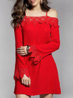 Cold Shoulder Lace Trim Dress - Red S