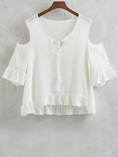 Ruffles épaule Froide épissage T-shirt Col Rond - Blanc L