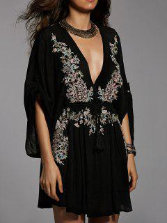 Embroidered Plunging Neck Flare Sleeve Dress - Black S