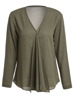 Solid Color Pleated V-Neck Long Sleeve Blouse - Army Green S