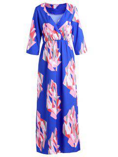 V-Ausschnitt Geometrisches Druck Maxi Kleid - Blau Xl