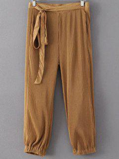 Solid Color Straight Leg Pleated Pants - Brown S