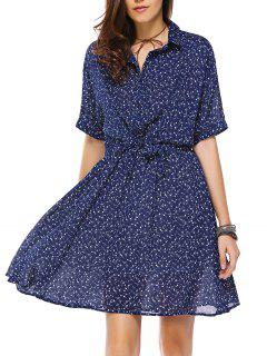 Tiny Floral Print Shirt Collar Waisted Dress - Purplish Blue