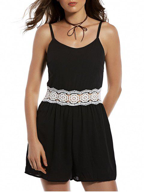sale Zippered Lace Spliced Cami Romper - BLACK S Mobile