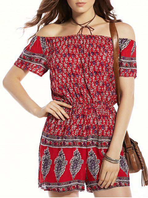 online Print Off The Shoulder Short Sleeve Romper - RED M Mobile