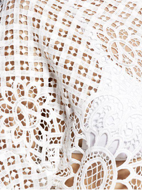 Évider col rond T-shirt couleur unie - Blanc L Mobile