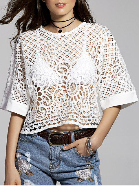 women Hollow Out Round Neck Solid Color T-Shirt - WHITE S Mobile