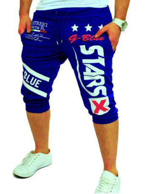 Grafik und Stern gedruckt Lace-Up Jogger Shorts - Blau M Mobile